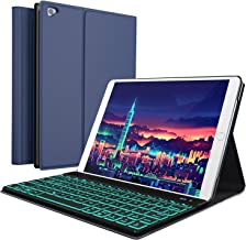 iPad Keyboard Case for New 2018 iPad, 2017 iPad, iPad Pro 9.7, iPad Air 1 and 2/BT Backlit Detachable Quiet Keyboard – Slim Leather Folio Cover – 7 Color Backlight – Apple Tablet (9.7, Blue)