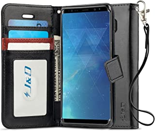 J&D Case Compatible for Samsung Galaxy Note 8 Case, [RFID Blocking Wallet] [Slim Fit] Heavy Duty Protective Shock Resistant Flip Cover with Card Slots for Galaxy Note 8 Wallet Case - Black