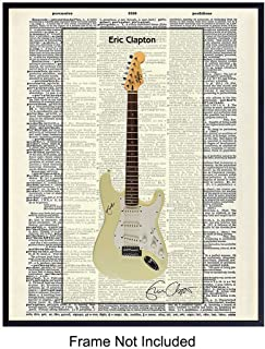 Eric Clapton Guitar Dictionary Art Print - Vintage Upcycled Wall Art Poster - Modern Chic Home Decor for Man Cave, Family, Rec or Game Room - Gift for Musicians, Music Fans, 8x10 Photo Unframed