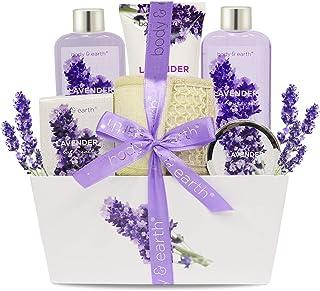 Bath Spa Gift Set, Body & Earth Gift Basket 6-Piece Lavender Scented Spa Basket Kits for Women, Contains Shower Gel, Bubble Bath, Body Lotion, Bath Salt, Body Scrub, Back Scrubber, Best Her