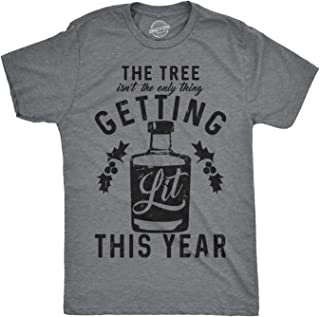 Mens The Tree Isnt The Only Thing Getting Lit Tshirt Funny Christmas Drinking Tee