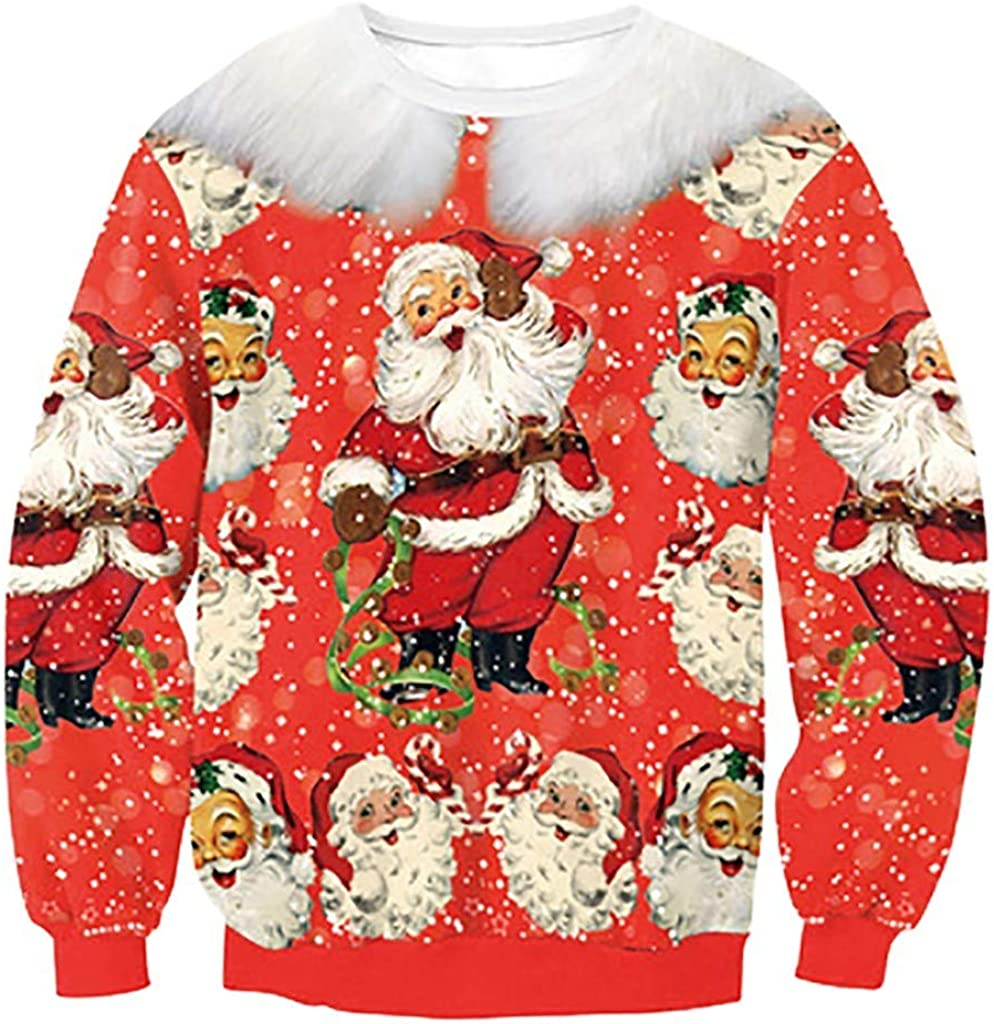 WUAI Unisex Funny Ranking TOP15 Ugly Christmas Sweater Grap 3D New Free Shipping Printed Digital
