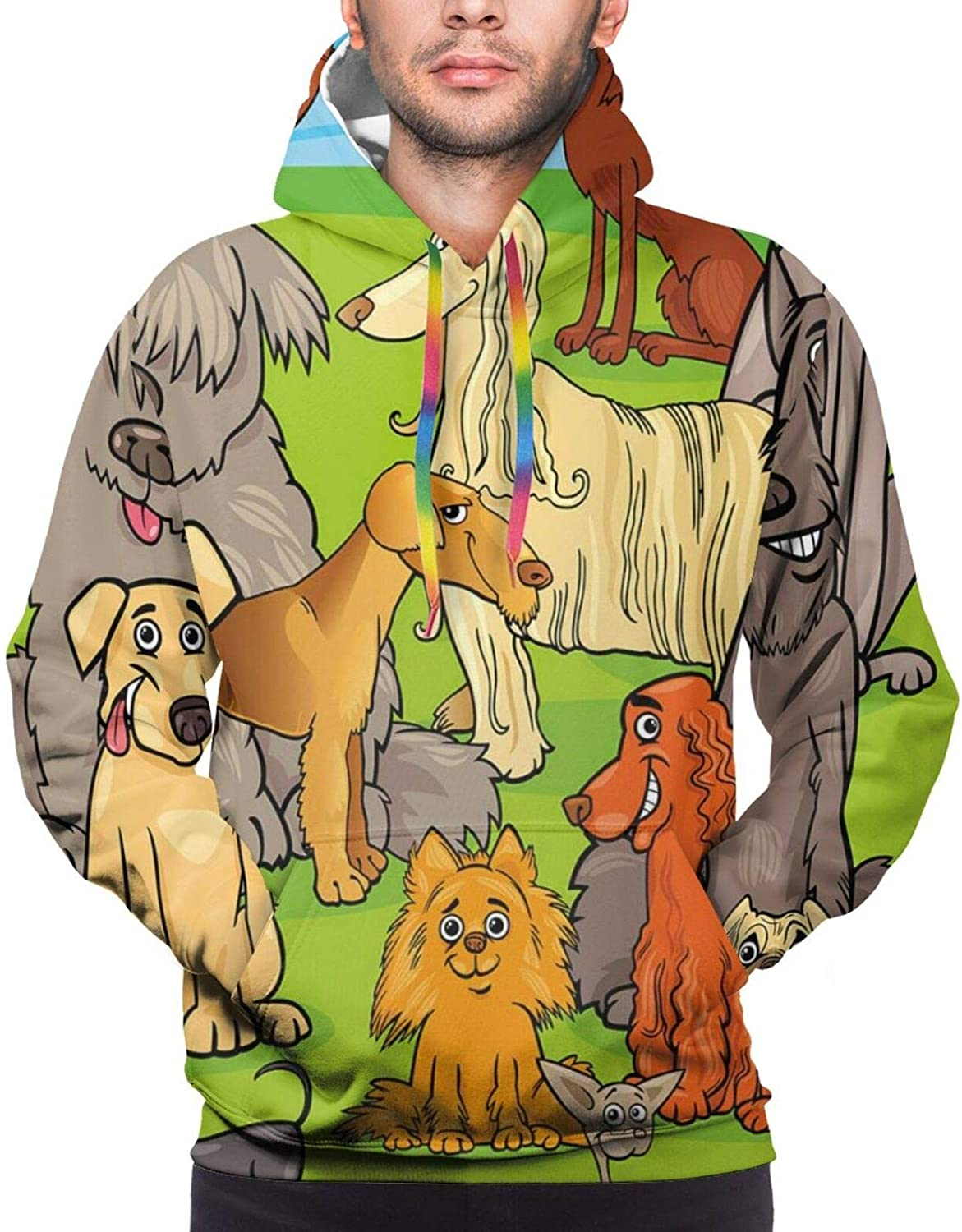 Men's Hoodies Sweatshirts,Funny Cute Nursery Themed Graphic with Happy Dog Characters On Grassy Land Blue Sky