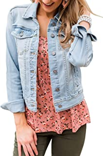 Women's Basic Long Sleeves Button Down Fitted Denim Jean...