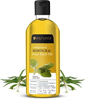 Soulflower Bhringraj Hair Oil with Real Mother Herbs, For Hairfall Control, Adds Shine & Volume to Hair, Controls Prematur...