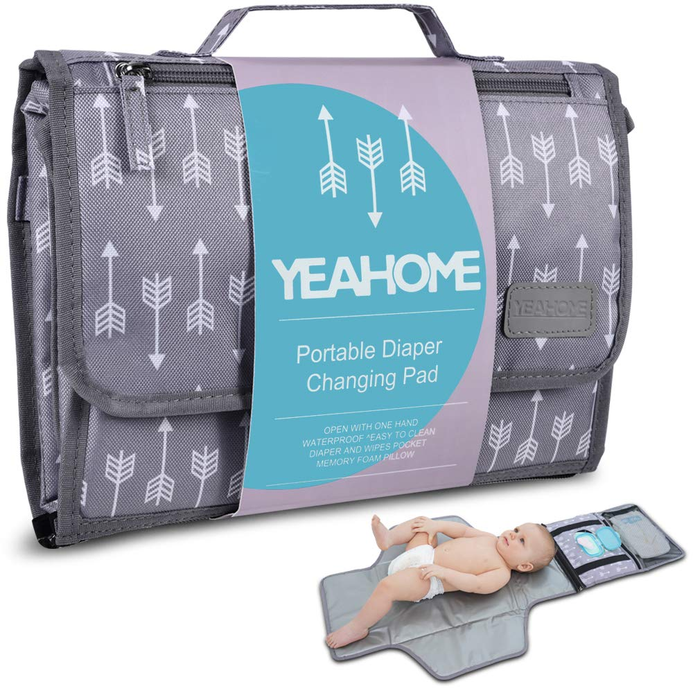 Portable Baby Diaper Changing Pad - YEAHOME Waterproof Travel Changing Table Pad for Newborn, Extended Cushioned Changing Mat with Head Pillow and Baby Stuff Pockets, Baby Shower Gifts