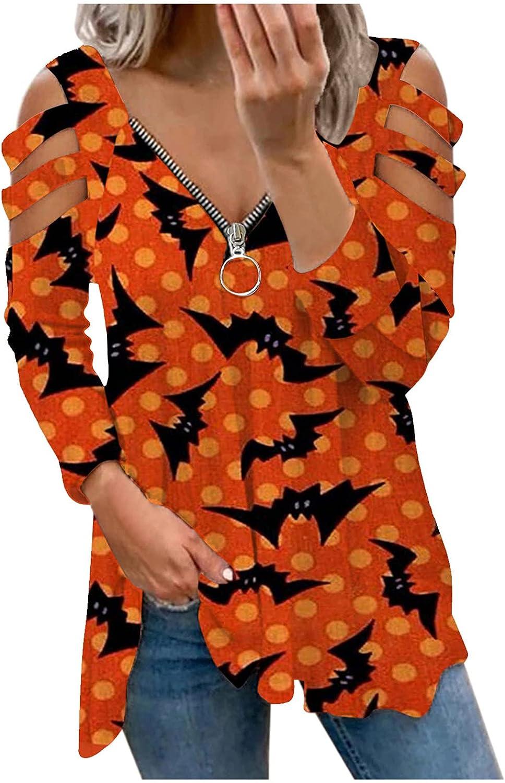 TIMIFIS Halloween Shirts for Women Hollow Long Sleeve Sweatshirt Sexy Zipper V Neck Pullover Fashion Print Tunic Tops