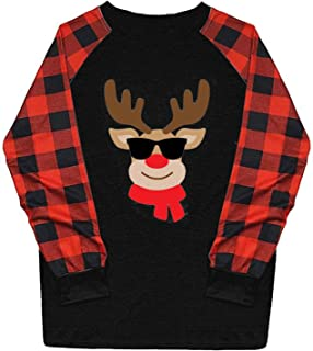 Fudule Christmas Shirts,Womens Plaid Splicing Long Sleeve...