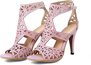 Summer-lavender Buckle Ankle Strap Hollow high Thin Heels Large Size Sexy Outdoor Party Women Sandals