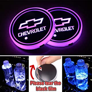 Heart Horse LED Cup Holder Lights, Car Logo Coaster with 7 Colors Changing USB Charging Mat, Luminescent Cup Pad Interior Atmosphere Lamp Decoration Light (2 PCS, Waterproof)