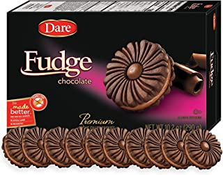 Dare Fudge Chocolate Crème Cookies – Made with Real Chocolate, Peanut Free – 10.2 Ounces (Pack of 12)