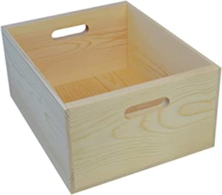 Wooden Pine Box with Handholes