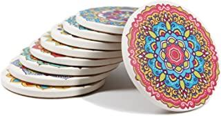Coasters Set of 9 Absorbent Stone Coaster for Drinks - Desktop Protection Prevent Furniture Damage - Colorful Mandala Style Tabletop Drink spills Coasters