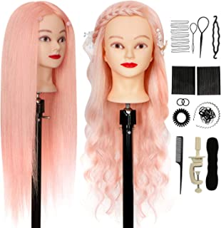 """Hairdressing Training Head 26"""" 80% Real Hair Mannequin Head ORGUJA Cosmetology Manikin Heads Practice Doll Head for Hair S..."""