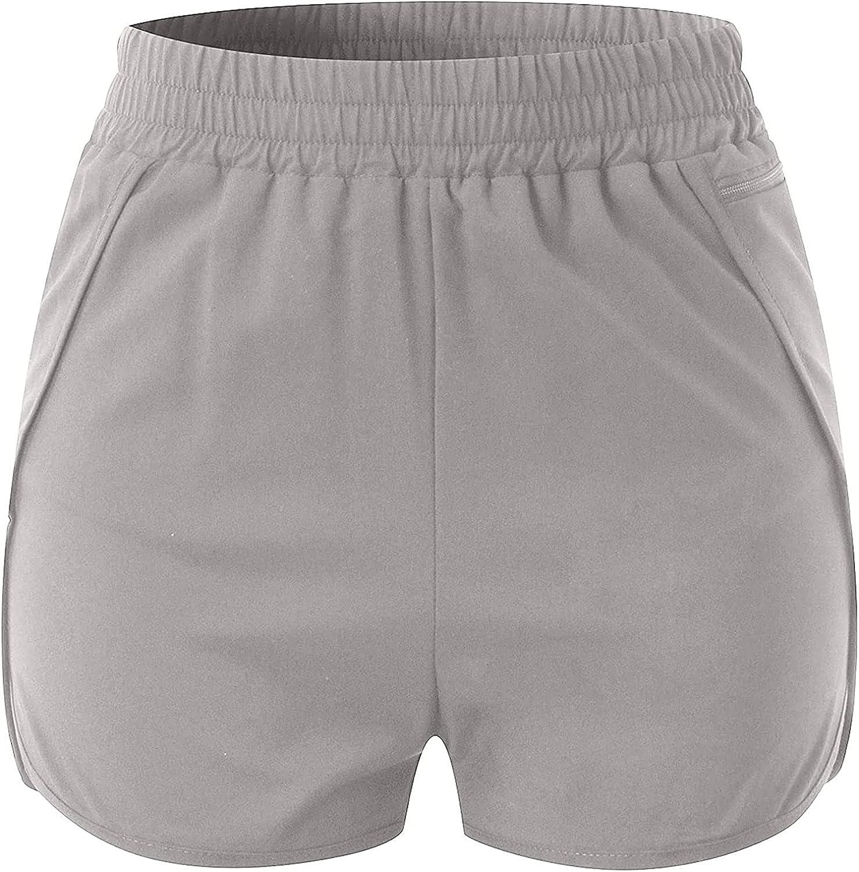 Women's Anti-Glare Miami Mall Sport Shorts Fake Piece Waist Two Fit Free Shipping New Elastic
