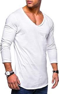 behype. Heren Oversize Longsleeve T-shirt met lange mouwen V-hals 30-0014