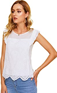 Women's Sheer Embroidery Ruffle Trim Scallop Hem Eyelet Tank Top Blouse