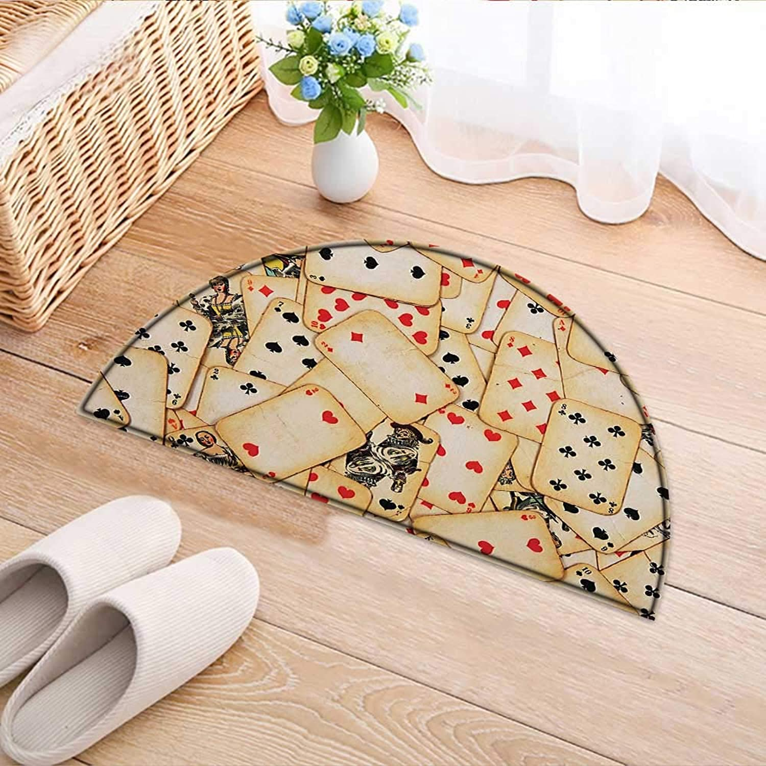 Entrance Hall Carpet Old Playing Cards Vintage Classic Style Entertaining Wealth Fortune Theme Non Slip Rug W39 x H28 INCH