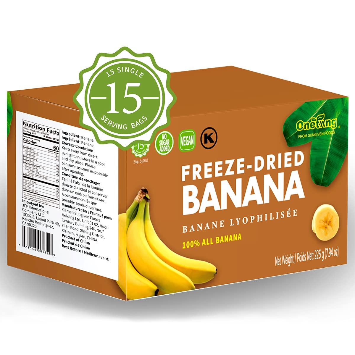 ONETANG Freeze-Dried Fruit Banana, 15 Pack Single-Serve Pack, Non GMO, Kosher, No Add Sugar, Gluten free, Vegan, Healthy Snack 0.52 Ounce
