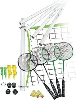 Franklin Sports Badminton Set - Portable Badminton Set - Adult and Kids Badminton Net - Perfect Backyard/Lawn Game - Includes 4 Badminton Racquets - Intermediate