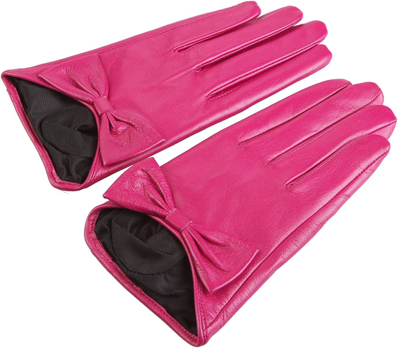 Chickle Women's Half Plam Bowknot Driving Lambskin leather Gloves