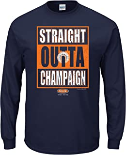 Smack Apparel Illinois Football Fans. Straight Outta Champaign. Navy T Shirt (Sm-5X)