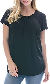Women's Maternity Nursing Tops Short Sleeve Modal Breastfeeding Shirt