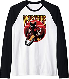 Marvel X-Men Wolverine Retro Video Game Circle Portrait Logo Manche Raglan