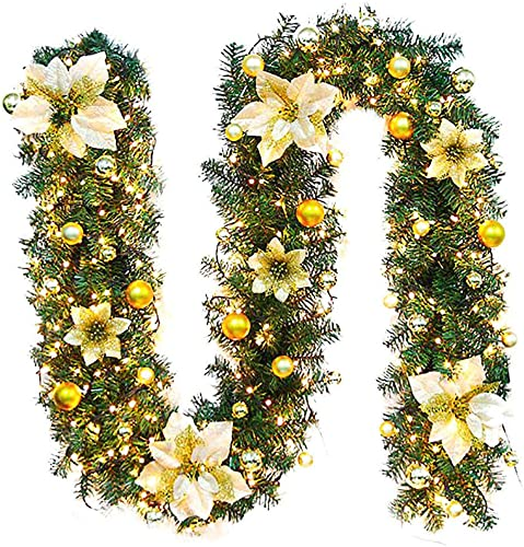 new arrival Christmas Garland with Lights - 8.5FT - Luxury Christmas Decoration with LED String Lights, new arrival Rattan Light, Spruce, for sale Outdoor Indoor Christmas Holiday Decor, with Ball Ornaments (Gold) online sale