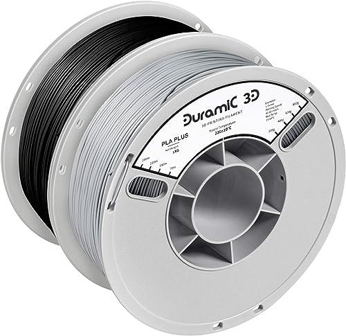 DURAMIC 3D Premium PLA Plus Filament 1.75mm 2 Pack Black Grey, 3D Printing Filament No-tangling No-Clogging Dimension...