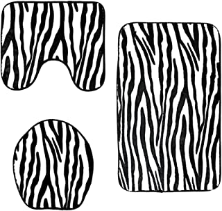 Baoblaze 3pcs Animal Print Non-Slip Rug Bath Mat Bathroom Toilet Seat Lid Cover Set - Zebra Stripe