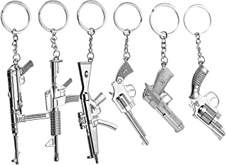 Gun Keychain - 6-Pack Metal Weapon Key Rings Pendant for Men, Birthday Gifts, 6 Designs, Silver