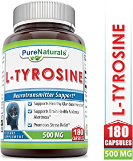 Pure Naturals L-Tyrosine Dietary Supplement, 500 Mg 180 Capsules- Supports Healthy Glandular Function*Supports Brain Health & Mental Alertness*Promotes Stress Relief*
