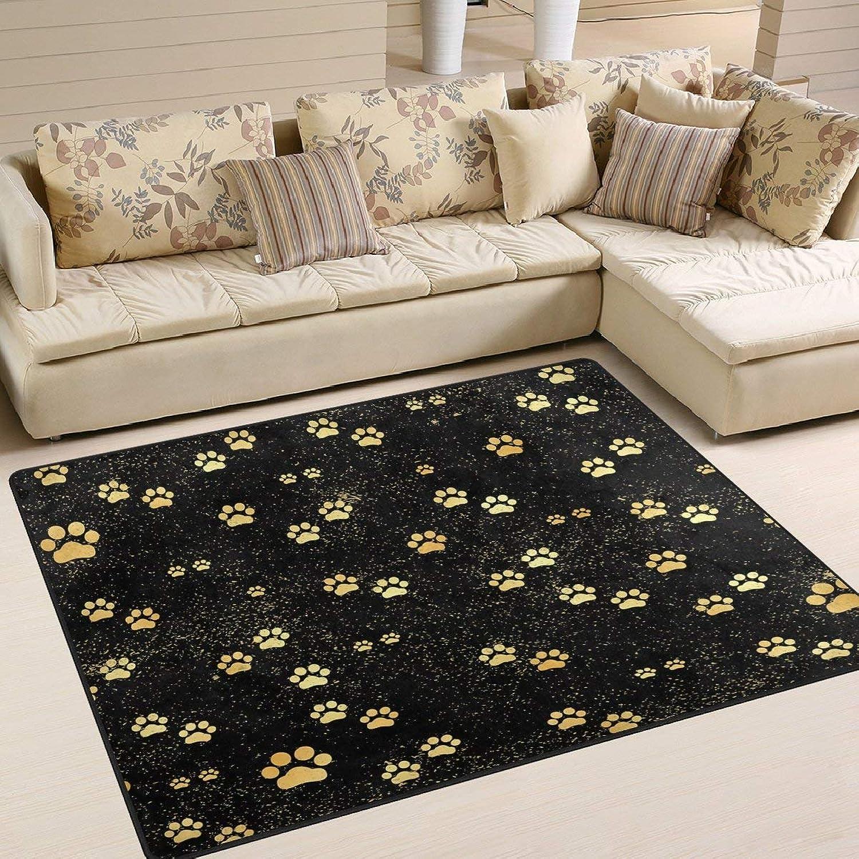gold Animal Paw Print Black for Floor Mat Rug Indoor Front Door Kitchen and Living Room Bedroom Mats Rubber Non Slip