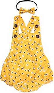 Honey Bee Romper with Headband for Baby Girls First...