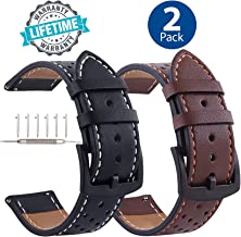 Galaxy Watch 46mm Leather Bands Quick Release, Black Buckle 22mm Watchband Replacement Strap Business Bracelet for Samsung Gear S3 Frontier/Classic/Galaxy Watch 46mm/Gear 2 Neo Live 2 Pack
