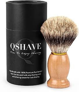 QSHAVE 100% Best Original Pure Badger Hair Shaving Brush Handmade. Real Wood Base. Perfect for Wet Shave, Safety Razor, Double Edge Razor