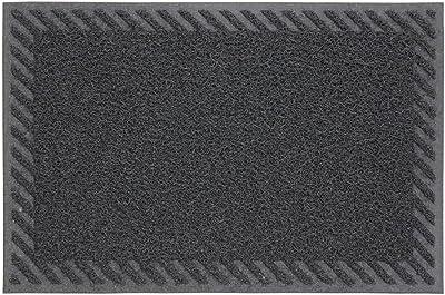 JVL Mud Grabber PVC Spaghetti Entrance Door Mat, Striped Border, Grey, 40 x 60 cm