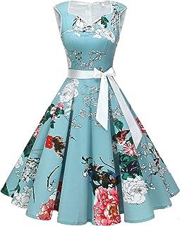 KaloryWee Ladies Dress Sale 2019 Women Long Sleeve Floral Hepburn Vintage High Waist Pleated Dress Ball Gown