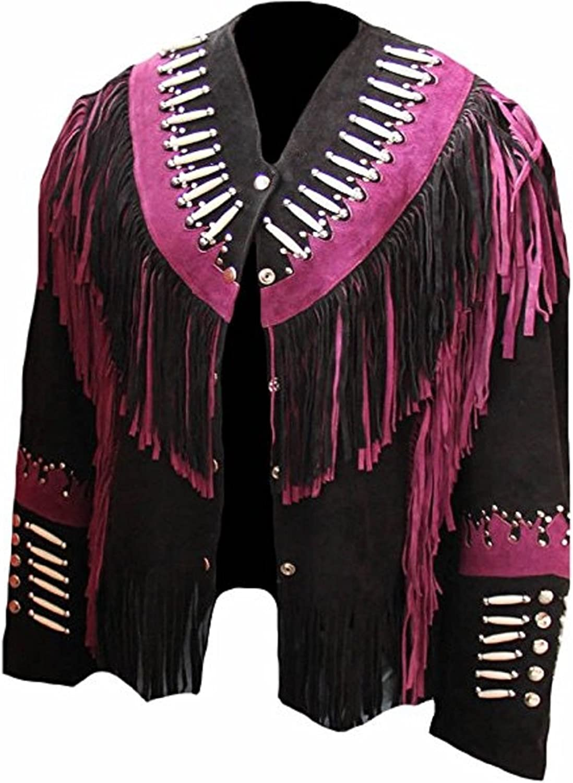 Bestzo Women's Fashion Western Fringed, Beaded & Bones Suede Coat Black XS5XL