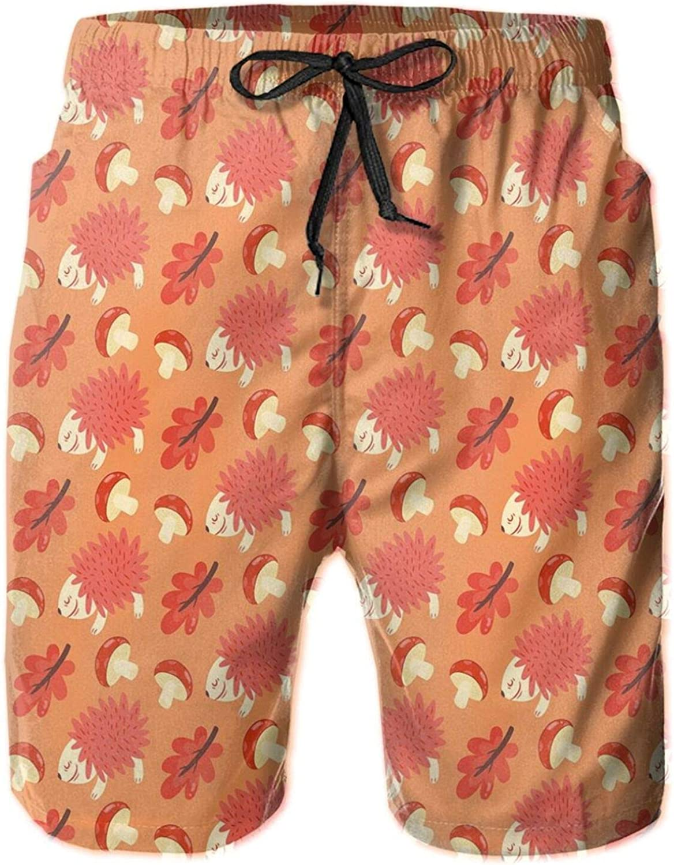 Romantic Autumn Nature Pattern Kids Design Toadstool Hedgehog Maple Leaves Drawstring Waist Beach Shorts for Men Swim Trucks Board Shorts with Mesh Lining,L