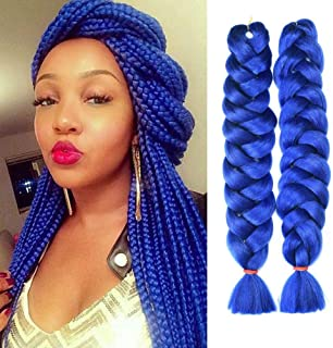 HVAXING 82 inch Ombre Jumbo Braiding Hair Extensions 2Pcs/Lot 165g/pcs High Temperature Kanekalon Fiber Crochet Twist Braids (Blue)
