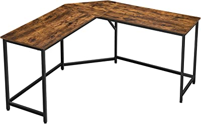 VASAGLE L-Shaped Computer Desk, 58-Inch Corner Desk for Study, Home Office Writing Workstation, Gaming Table, Space-Saving, Easy Assembly, Industrial Design, Rustic Brown and Black ULWD73X