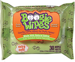 Boogie Wipes, Wet Wipes for Baby and Kids, Nose, Face, Hand and Body, Soft and Sensitive Tissue Made with Natural Saline, Aloe, Chamomile and Vitamin E, Fresh Scent, 10 Count Travel (Pack of 24)