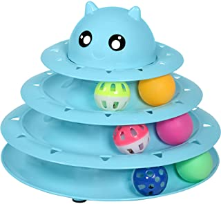 UPSKY Cat Toy Roller Cat Toys 3 Level Towers Tracks Roller with Six Colorful Ball Interactive Kitten Fun Mental Physical E...