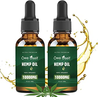 (2-Pack) Hemp Oil - 10000mg Hemp Oil Extract for Pain Relief, Anxiety & Stress Relief, Pure Extract, Vegan Friendly, Helps...