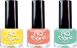 AQMORE Premium Water Based Nail Polish - Pure Minerals, Ultra Long Lasting, Easy Peel Off, Gel Manicures Like, Quick Drying, Non Toxic, Lab Tested, 0.20 fl oz/Bottle, 3 Color Set, Jelly Alien