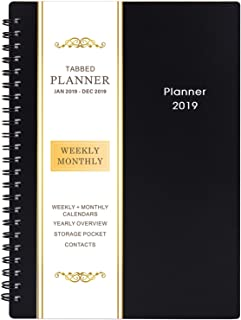 """2019 Planner - Weekly & Monthly Planner 2019, Flexible Cover, 12 Monthly Tabs, Twin-Wire Binding with Two-Sided Inner Pocket, 5"""" x 8"""" - BooQool"""
