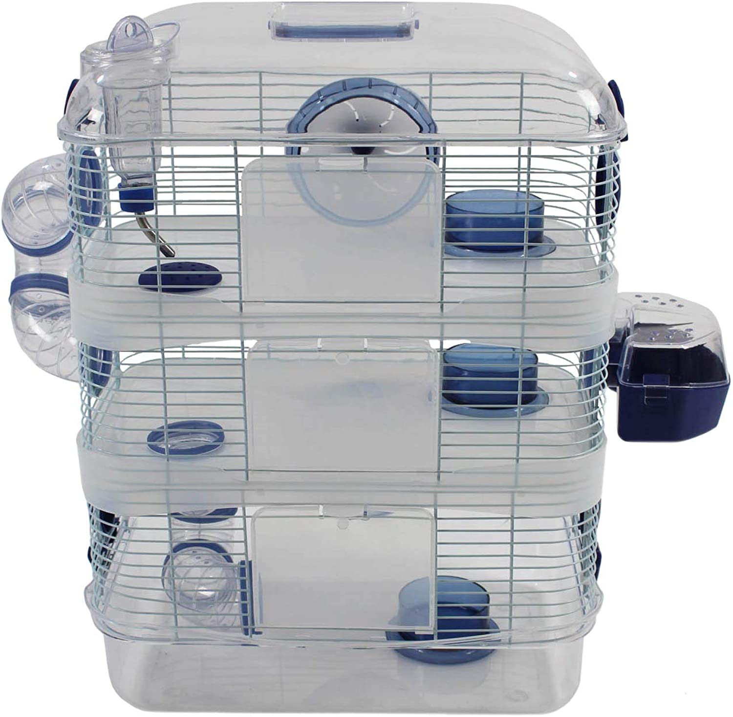Easipet Indoor Clear Plastic Hamster Cage In 2 Colour & Size Options (bluee Triple Layer)