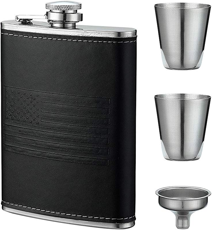 8 Oz Gift Sets American Flag Flask By YWQ Soft Touch Cover And Durable Construction Stainless Steel Gift Sets